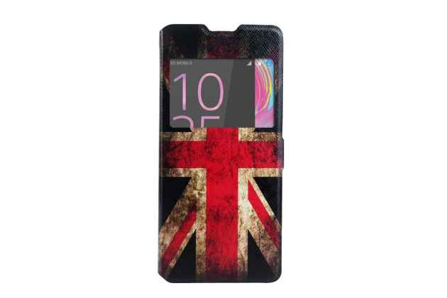 """Фирменный уникальный необычный чехол-подставка для Sony Xperia XA / XA Dual 5.0"""" (F3113/ F3112 / F3115 /E6533) тематика Британский флаг с окошком для входящих вызовов"""