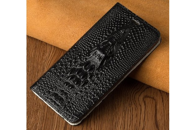 """Фирменный роскошный эксклюзивный чехол с объёмным 3D изображением рельефа кожи крокодила черный для Sony Xperia XA / XA Dual 5.0"""" (F3113/ F3112 / F3115 /E6533). Только в нашем магазине. Количество ограничено"""