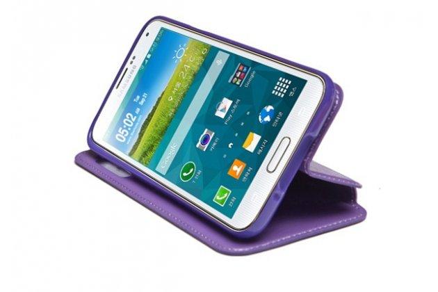 """Фирменный оригинальный чехол-книжка с подставкой и визитницей для Sony Xperia XA / XA Dual 5.0"""" (F3113/ F3112 / F3115 /E6533) фиолетовый с окошком для входящих вызовов водоотталкивающий"""