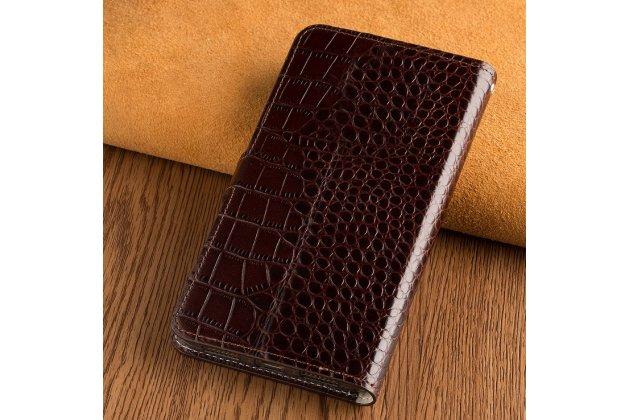 "Фирменный чехол-книжка с подставкой, застежкой и визитницей для Sony Xperia XA / XA Dual 5.0"" (F3113/ F3112 / F3115 /E6533)  лаковая кожа крокодила коричневый"