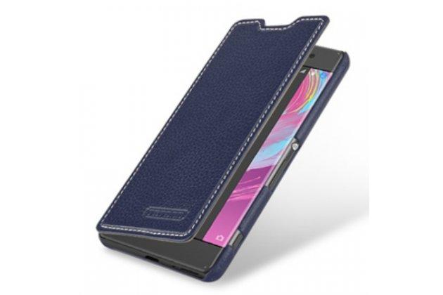 """Фирменный оригинальный чехол-книжка из качественной импортной кожи для Sony Xperia XA / XA Dual 5.0"""" (F3113/ F3112 / F3115 /E6533) синий"""