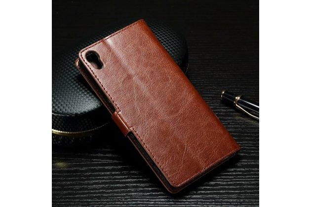 """Фирменный чехол-книжка из качественной импортной кожи с подставкой застёжкой и визитницей для Sony Xperia XA / XA Dual 5.0"""" (F3113/ F3112 / F3115 /E6533) коричневый"""