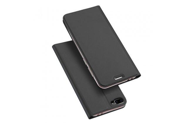 Фирменный премиальный элитный чехол-книжка с мульти-подставкой и визитницей для Asus Zenfone 4 Max ZC554KL 5.5 водоотталкивающий серый