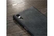 Фирменная премиальная элитная крышка-накладка из тончайшего прочного пластика и качественной импортной кожи для Sony Xperia XZ/XZs/ XZ Dual 5.2 (F8331 / F8332)  Ретро под старину черная