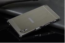 Фирменная металлическая задняя панель-крышка-накладка из тончайшего облегченного авиационного алюминия для Sony Xperia XZ/XZs/ XZ Dual 5.2 (F8331 / F8332) черная