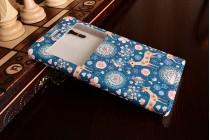 Фирменный уникальный необычный чехол-подставка для Sony Xperia XZ/ XZs/ XZ Dual 5.2 (F8331 / F8332) тематика Олень в цветах с окошком для входящих вызовов