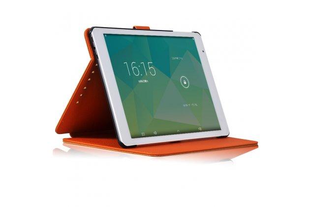 Фирменный чехол закрытого типа с красивым узором для планшета Teclast P98 4G Octa Core с держателем для руки оранжевый натуральная кожа Prestige Италия