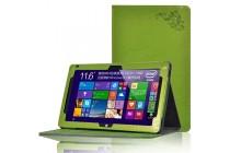 Фирменный чехол закрытого типа с красивым узором для планшета Teclast Tbook 16 Power / 16s с держателем для руки  зеленый натуральная кожа Prestige Италия