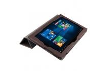 Фирменный чехол-футляр-книжка для Teclast X3 Pro коричневый водоотталкивающий