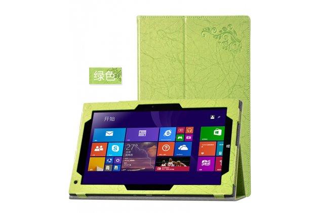 Фирменный чехол закрытого типа с красивым узором для планшета Teclast X3 Pro  с держателем для руки зеленый натуральная кожа  Италия
