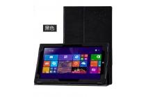 Фирменный чехол закрытого типа с красивым узором для планшета Teclast X3 Pro  с держателем для руки чёрный натуральная кожа  Италия