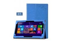 Фирменный чехол закрытого типа с красивым узором для планшета Teclast X3 Pro  с держателем для руки синий натуральная кожа  Италия