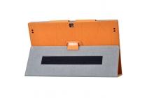 Фирменный чехол закрытого типа с красивым узором для планшета Teclast X3 Pro  с держателем для руки оранжевый натуральная кожа  Италия