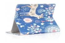 Фирменный чехол закрытого типа с красивым узором для планшета Teclast X89 Kindow  с держателем для руки Тематика Олени в цветах натуральная кожа  Италия