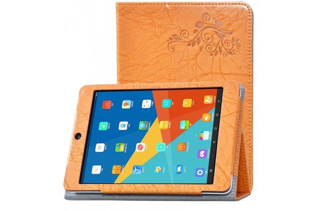 Фирменный чехол закрытого типа с красивым узором для планшета Teclast X89 Kindow  с держателем для руки оранжевый натуральная кожа  Италия