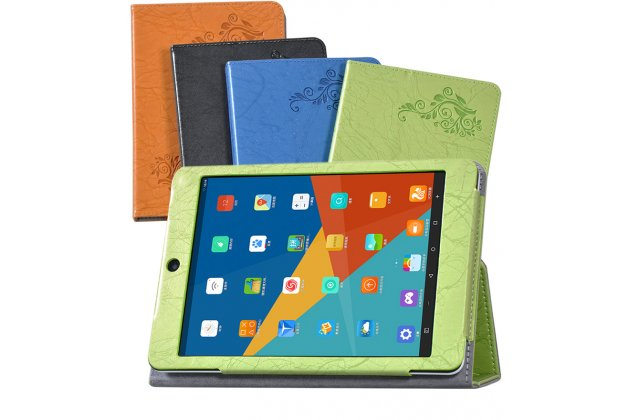 Фирменный чехол закрытого типа с красивым узором для планшета Teclast X89 Kindow  с держателем для руки голубой натуральная кожа  Италия