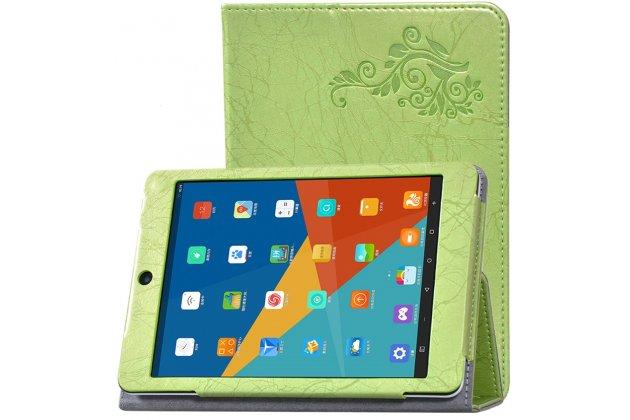 Фирменный чехол закрытого типа с красивым узором для планшета Teclast X89 Kindow  с держателем для руки зеленый натуральная кожа  Италия