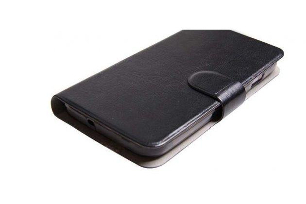 Фирменный чехол-книжка  из качественной импортной кожи с застёжкой и мультиподставкой для Ulefone Be Pro черный
