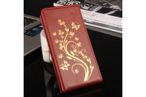 Фирменный вертикальный откидной чехол-флип для Ulefone Be Pro Золотое Цветение  красный