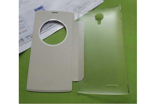 Фирменный оригинальный чехол-книжка для Ulefone Be Pro белый с окошком для входящих вызовов водоотталкивающий