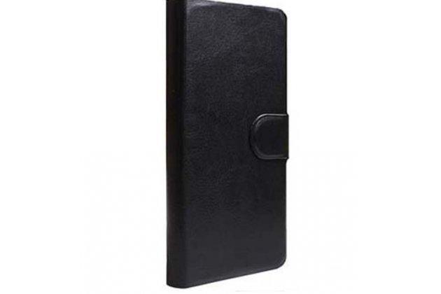 Фирменный чехол-книжка  из качественной импортной кожи с застёжкой и мультиподставкой для Ulefone Be Pure Lite черный