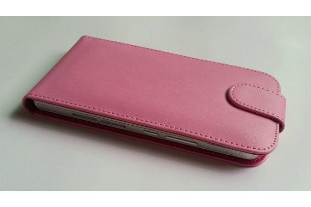 Фирменный оригинальный вертикальный откидной чехол-флип для  Ulefone Be Pure Lite розовый  из натуральной кожи Prestige Италия