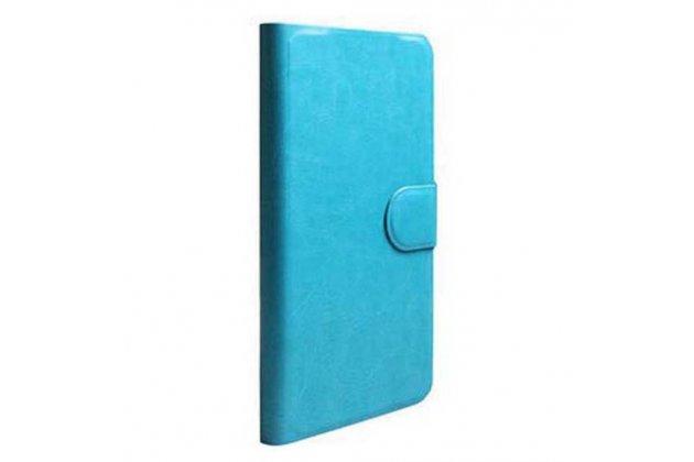 Фирменный чехол-книжка  из качественной импортной кожи с застёжкой и мультиподставкой для Ulefone Be Pure бирюзовый
