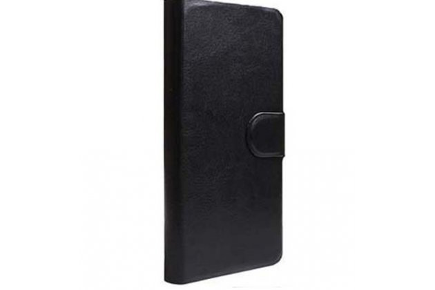 Фирменный чехол-книжка  из качественной импортной кожи с застёжкой и мультиподставкой для Ulefone Be Pure черный