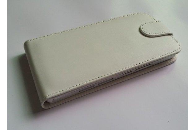 Фирменный оригинальный вертикальный откидной чехол-флип для Ulefone Be Pure белый из натуральной кожи Prestige Италия