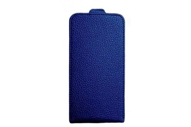 Фирменный оригинальный вертикальный откидной чехол-флип для Ulefone Be X синий из натуральной кожи Prestige Италия
