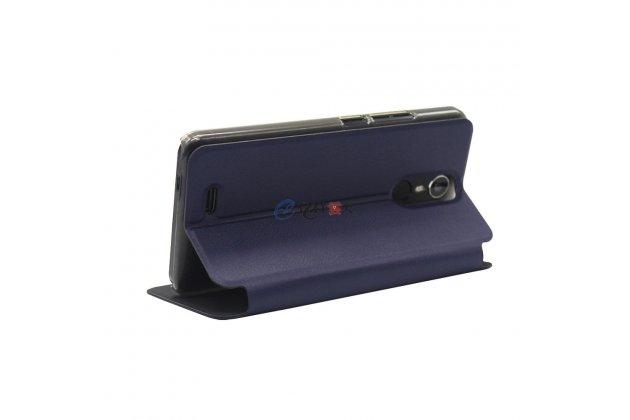 Фирменный чехол-книжка из качественной водоотталкивающей импортной кожи на жёсткой металлической основе для Ulefone Metal синий