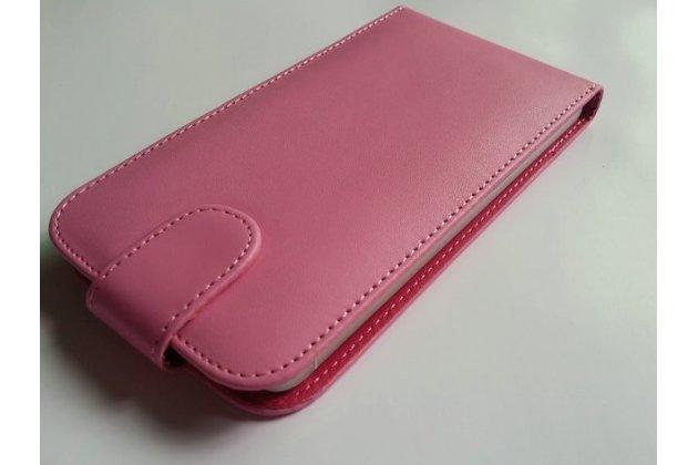 Фирменный оригинальный вертикальный откидной чехол-флип для  Ulefone Metal розовый из натуральной кожи Prestige Италия