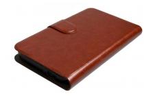 Фирменный чехол-книжка  из качественной импортной кожи с застёжкой и мультиподставкой для Ulefone U007 коричневый