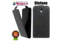 Фирменный оригинальный вертикальный откидной чехол-флип для Ulefone U007  черный из натуральной кожи Prestige Италия