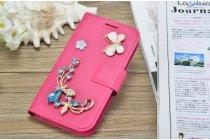 Фирменный роскошный чехол-книжка безумно красивый декорированный бусинками и кристаликами на Ulefone Vienna розовый
