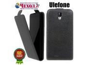 Фирменный оригинальный вертикальный откидной чехол-флип для Ulefone Vienna черный из натуральной кожи Prestige..