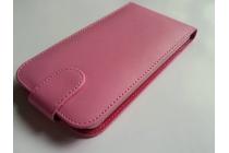 Фирменный оригинальный вертикальный откидной чехол-флип для Ulefone Vienna розовый из натуральной кожи Prestige Италия