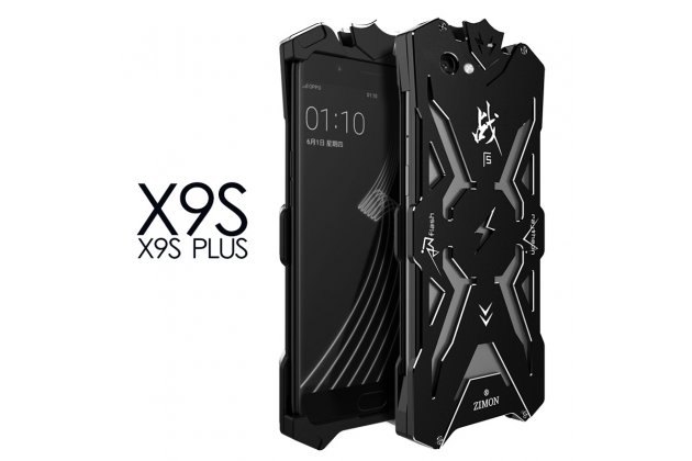 Противоударный металлический чехол-бампер из цельного куска металла с усиленной защитой углов и необычным экстремальным дизайном  для  Vivo X9 Plus / Vivo X9 Plus 128Gb / Vivo X9 Plus 64Gb черного цвета