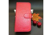 Фирменный чехол-книжка  из качественной импортной кожи с застёжкой и мультиподставкой для Wileyfox Spark X красный