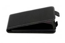 Фирменный оригинальный вертикальный откидной чехол-флип для  Wileyfox Spark X черный из натуральной кожи Prestige Италия