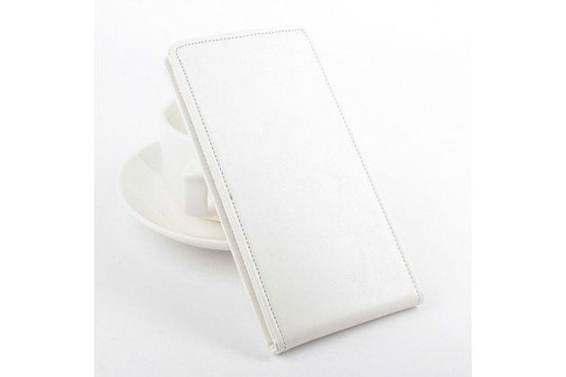 Фирменный оригинальный вертикальный откидной чехол-флип для Wileyfox Swift 2 /Вайлефокс Свифт белый из натуральной кожи Prestige Италия