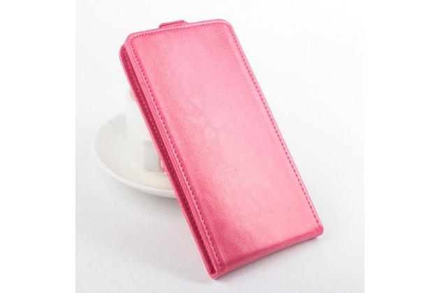 Фирменный оригинальный вертикальный откидной чехол-флип для Wileyfox Storm розовый из натуральной кожи Prestige Италия