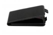 Фирменный оригинальный вертикальный откидной чехол-флип для  Wileyfox Storm черный из натуральной кожи Prestige Италия