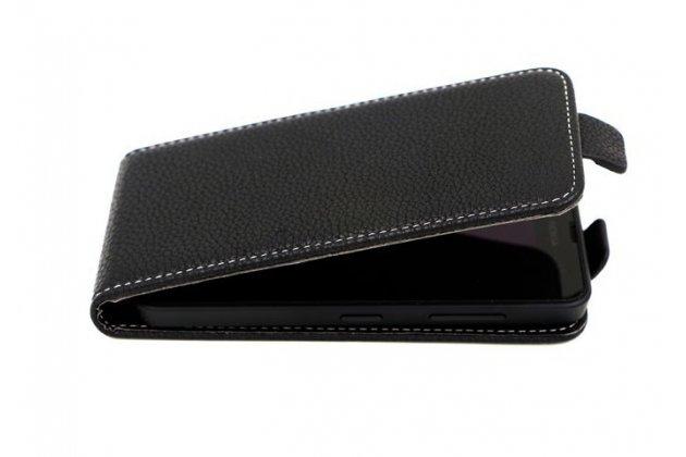 Фирменный оригинальный вертикальный откидной чехол-флип для Wileyfox Swift 2 Plus / Вайлефокс Свифт черный из натуральной кожи Prestige Италия