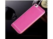 Фирменная премиальная элитная крышка-накладка на Xiaomi Mi 5C розовая из качественного силикона с дизайном под..