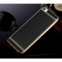 Фирменная премиальная элитная крышка-накладка на Xiaomi Mi 5C черная из качественного силикона с дизайном под кожу