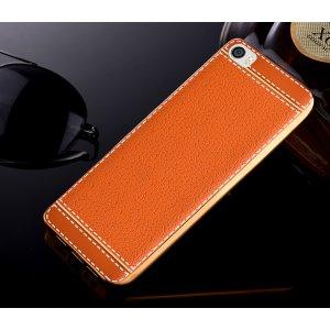 Фирменная премиальная элитная крышка-накладка на Xiaomi Mi 5C коричневая из качественного силикона с дизайном под кожу
