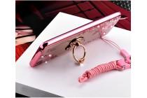 """Фирменная роскошная элитная силиконовая задняя панель-накладка украшенная стразами кристалликами и декорированная элементами для Xiaomi Mi 5C """"тематика сердце"""" розовая"""