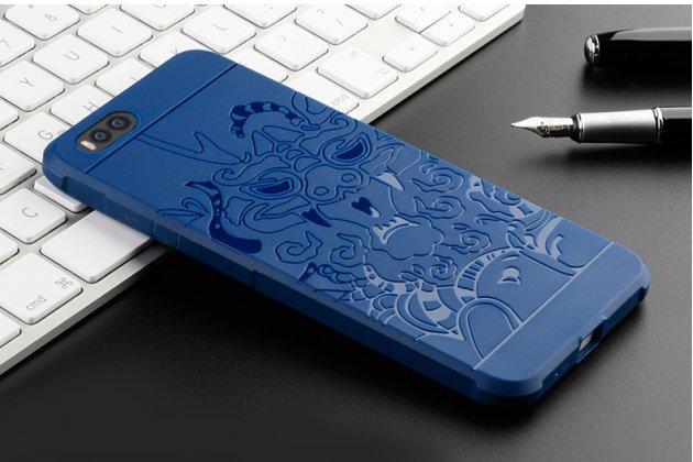 Фирменная ультра-тонкая полимерная из мягкого качественного силикона задняя панель-чехол-накладка для Xiaomi Mi 6 с декором синяя