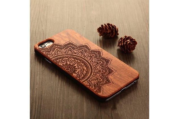"""Фирменная оригинальная деревянная из натурального бамбука задняя панель-крышка-накладка для Xiaomi Mi 6 с изображением """"Мандала"""""""